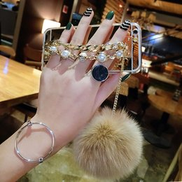 $enCountryForm.capitalKeyWord NZ - 10pcs Luxury pearl Chain Tassel fox puff pompoms fur ball soft mirror case cover for iphone 6 7 plus Samsung galaxy s8 plus