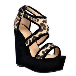 7ac4a6737b Kolnoo Womens Fashion Handmade 15cm Wadge Heel Platform Buckle Strap Party  Prom Sandals Shoes Black XD119