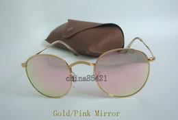 ad0e928681 1 par de gafas de sol redondas de alta calidad para las mujeres Espejo de  destello gafas de sol marco de oro lente de cristal rosa 50 mm con caja de  caja