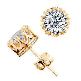 Chinese  Platinum Gold-Plated Round-Cut Swarovski Zirconia Crown Stud Earrings 8mm AAA Crystal Earrings Studs For Women Free Gift Box manufacturers