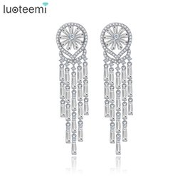 water crystals for plants UK - LUOTEEMI New Fashion Long Water Drop Tassel Earrings Christma Gift Luxury Vintage CZ Crystal Wedding Brincos For Women Jewelry