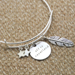 Pan bangle online shopping - 12pcs Peter Pan Inspired bracelet Off to neverland crystals Peter Pan gift Never land silver tone bangles