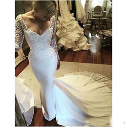 $enCountryForm.capitalKeyWord NZ - Vestido de noiva Illusion Long Sleeves Applique Beads Mermaid Wedding Dresses Sexy Plunging V Neck Lace And Satin Court Train Bridal Gowns