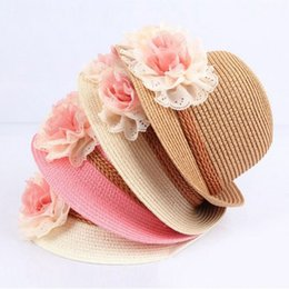 China 2017 New Summer Kids Floral Straw Hats Fedora Hat Children Visor Beach Sun Baby Girls Sunhat Wide Brim Floppy Panama For Girl cheap brimmed hats for kids suppliers