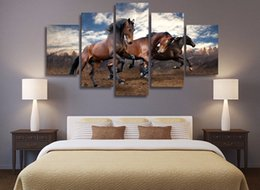 hd painting horse run Australia - 5Pcs Set HD Printed Animals blue sky running horse picture painting wall art Canvas Print room decor poster paintings canvas
