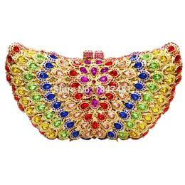 Wholesale- LaiSC Butterfly Shape Luxury crystal clutch bag white diamond  wedding women purse pochette ladies prom clutch evening bag SC108 91f6057bbf18