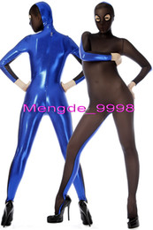 Barato Catsuit Azul Preto-Sexy Blue Shiny Metallic and Black Spandex Seda Cada Meia Traje Catsuit Costumes Unisex Cosplay Trajes Bodysuit Outfit Com Olhos Abertos M057