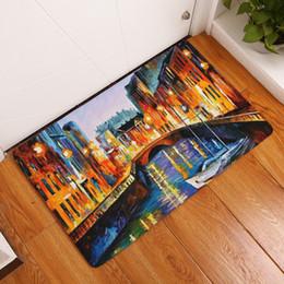 Painted Floor Mats Canada - 2017 New Home Decor Anti-Slip Carpets Oil Painting Landscape Pattern Mats Bathroom Livingroom Floor Kitchen Rugs 40X60 50X80cm