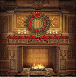 Backdrops indoor vinyl online shopping - Indoor Fireplace Christmas Background Vintage Computer Printed Home Decor Garland Candles Family New Year Holiday Photography Backdrop Vinyl
