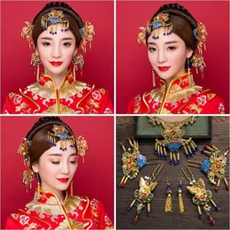 $enCountryForm.capitalKeyWord Canada - Woman headdress hair Lomen bride headdress Costume Blue and white porcelain beads show Chinese wedding clothes hair ornaments suit 6210795 w