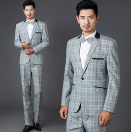 men s long wedding suit Australia - Grey fashion plaid formal dress set men suit latest coat pant designs mens suits with pants wedding suits for men suit + pant + tie S - 2XL