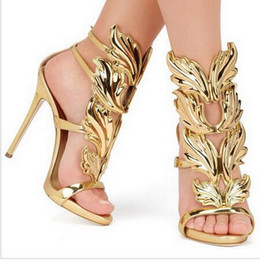 Golden Metal Wings Canada - Hot Sale Brand Sanals Golden Metal Wings Leaf Strappy Dress Sandal Silver Gold Red Gladiator High Heels Shoes Women Metallic Winged Sandals