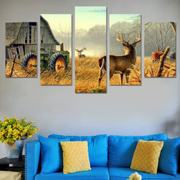 $enCountryForm.capitalKeyWord NZ - Fashion Home decoration Wall Art Pictures For Bedroom 5 Panel Deer natural Scenery Paintings Canvas Print Wall Poster Pictures No frame