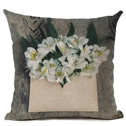$enCountryForm.capitalKeyWord UK - green plant cushion cover vintage floral petals throw pillow case country style shabby chic home decor 45cm almofada linen cojin