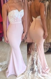 Barato Cintas De Vestido Rosa Claro-Light Pink Saghetti Straps Mermaid Prom Dresses with Lace Appliques Sweetheart Sexy Backless Prom Gowns Vestidos baratos para o evento 2018