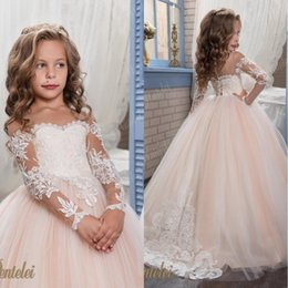 Discount flowers applique for wedding dress - Kids Flower Girls Dresses for Weddings 2018 Pentelei with Illusion Long Sleeves Tulle Blush Little Girls Gowns Arabic Ki