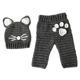 crochet baby sets animals Australia - Newborn Kitty Cat Outfit,Handmade Crochet Baby Boy Girl Cat Hat Pant Set,Infant Animal Halloween Costume,Toddler Photo Prop,Baby Shower Gift