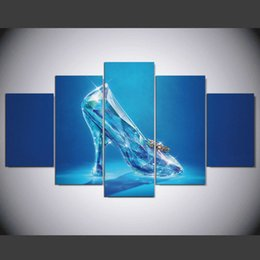 printed glass paintings 2019 - New Glittering Blue Glass Shoes Paintings on Canvas Home decor 5 Panel Wall Print Art Modular Pictures For Bedroom Uniqu