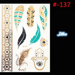 Feather Tatoo Canada - Wholesale-Feather design Flash Tattoo Removable Waterproof Gold Tattoo Metallic Temporary Tattoo Stickers Temporary Body Art Tatoo
