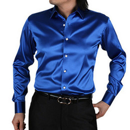 Barato Camisa De Cetim Homens Casamento-2017 New Arrival Custom 21 Colors Silk Like Satin Men Wear Shirts Groom Noivo Wedding Slik Shirt For Men Performance Party vestindo camisas