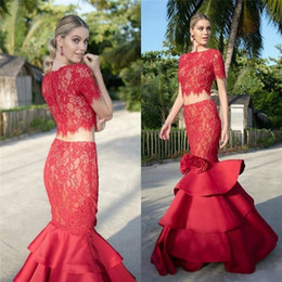 Lace Satin Short Dress Canada - All Red Lace Mermaid Two Pieces Prom Dresses 2019 With Short Sleeves Layered Satin Long 2 Piece Formal Evening Party Gowns Vestido De Festa