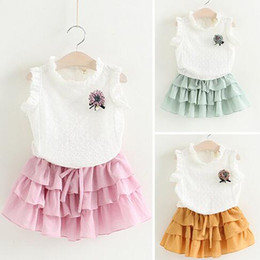 $enCountryForm.capitalKeyWord Canada - INS Children Summer Baby Cute Girls Hollow Out Flower Clothing Sets White Sleeveless T-Shirts+ Skirts Outfits Set 3 Color With High Quality