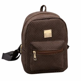 Online Shopping Vintage Women Backpack Dot Printed Small Schoolbag Student Book Bag PU Leather School