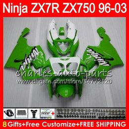Chinese  8Gifts 23Colors For KAWASAKI NINJA ZX7R 96 97 98 99 00 01 02 03 18HM16 green white ZX750 ZX 7R ZX-7R 1996 1997 1998 1999 2000 2003 Fairing manufacturers