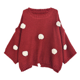 Chinese  M10-Autumn sweet bat sleeves girl sets sweater decals design girl student cute soft red wine loose sweater , support drop ship manufacturers