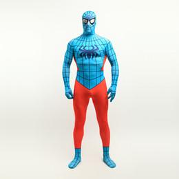 $enCountryForm.capitalKeyWord Canada - Halloween Sky Blue and Orange Superhero Spider-man Cosplay Performance Costumes Lycra Spandex FullBody Zentai Suit For 2017