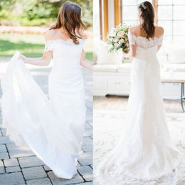 MerMaid sheath wedding dresses short train online shopping - Country Style Off The Shoulder Wedding Dresses Mermaid Full Lace Court Train Custom Made in China Bridal Gowns