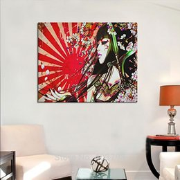 "japanese wall canvas Canada - Japanese Geisha Girl Custom Canvas Print Wall art Painting 20""x16""Inch,Modern Home Decor Wall Room Office Oil Paintings"
