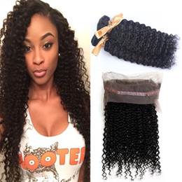 cheap bundles curly hair closure 2019 - Pre Plucked 360 Lace Frontal With Bundles Kinky Curly Mink Brzilian Human Hair With Closures Cheap Curly Full Frontals C