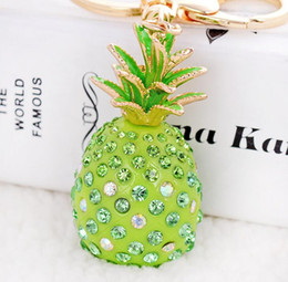 Discount diamond key pendants for women Tropical Fruit Creative Pineapple Keychains With Diamond Purse Bag Pendant For Car Keyrings High-grade Gift key chains h