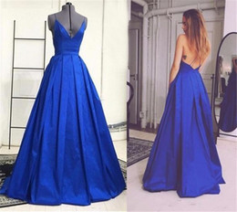 Barato Vestidos De Noiva Simples E Sexy-Royal Blue Sexy Long Prom Vestidos Deep V Neck A-line Backless Mulheres Formal Evening Wear Spaghetti Straps Vestidos de noite simples