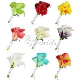 Boda de la cala artificial ramillete broche del ramo de la flor Boutonniere Ramillete con clip para novia novio GroomsmanPin Decoración