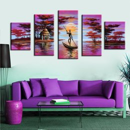 Discount oil canvas set - 5 Pcs Set No Framed Hand-Painted Purple Oil Paintings African Landscape Wall Pictures For Bedroom Canvas Painting Poster