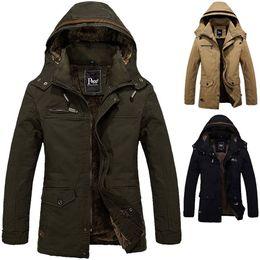 Army jAckets for men online shopping - Men s Winter Warm Coat Boys Jacket Cotton Fleece Hooded Jacket Men Overcoat Large Size For Winter Autumn