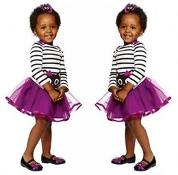 Barato Parte Superior Roxa Da Menina-Kids boutique skirt set designer toddlers girl dress strap tos purple top shirt roupa de bebê set bodysuit infantil next babies clothes