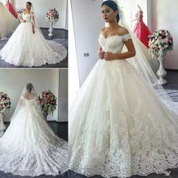 $enCountryForm.capitalKeyWord NZ - 2017 Cheap Modest Saudi Arabia Cap Sleeves A Line Wedding Dresses Off Shoulder Full Lace Appliques Plus Size Court Train Formal Bridal Gowns