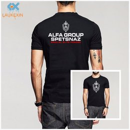 Wholesale New Russian Spetsnaz Alfa Alpha Unit Counter Terrorist Special Unit Forces T shirt Side Black O Neck Tshirt Casual Funny Shirt