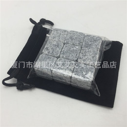 Wholesale 6 aa Creative Light Grey Whisky Stones Square Ice Stone Flannelette Bag Wine Rocks For Drinking Bar Christmas Valentine Father Gifts R
