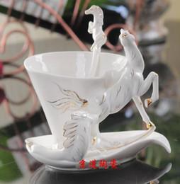 porcelain enamel cups 2019 - Wholesale- White Horse Enamel Coffee Cup Porcelain Mug Set Creative Ceramic Drinkware European Bone China Creative Gifts