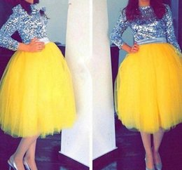 Robes De Femmes Jaunes Brillantes Pas Cher-Jupe Tulle Jaune Brillant Nouvelle Mode Mi-Veau Tutu Jupes Pour Femme Cheap Prom Party Dresses Custom Made Girls Formal Wear