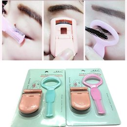 Barato Pinças Para Cílios-2Pcs / Set Portable Eyelash Curler Extension Applicator Remover Clip Sombra Eye Lashes Tweezers Nipper Tool Mini Eyes Curling Card para Lashes