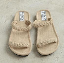2982085588327 Men Women Beige Hemp Handmade Rubber Sole Flip Flops