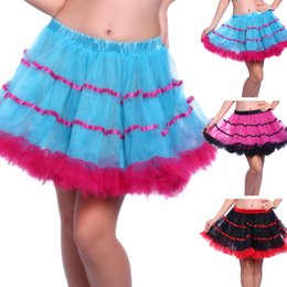Robes Burlesques Pas Cher-Sexy Tous les matchs Layered Ruffle Mini Tutu Jupe Burlesque Petticoats Clubwear Dance Ball Gown Party Jupes S010 Blue Black Rose Livraison gratuite