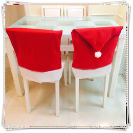 Christmas Tables NZ - 1 PCS Santa Claus Red Hat Chair Back Cover Christmas Decoration for Home Party Holiday Christmas Dinner Table Decor