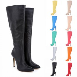 c3ad5c15d177 Botas Feminina Womens Leather Pointed Toe High Heels Autumn Winter Mid Calf  Knee Wide Leg Stretch Boots US Size 4-11 D0041