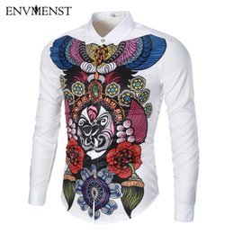 Barato Homens Chineses Da Camisa De Vestido Fino-Venda por atacado - Envmenst 2017 Primavera Mais recente Chinês Chinês Tradicional Máscara Printed Slim Shirt For Men Vestido casual Men's Retro Business Shirt